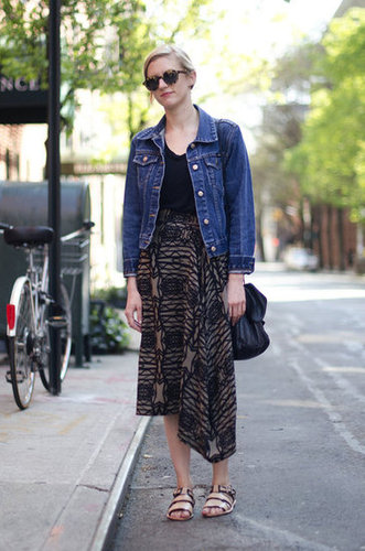 Give your tribal-inspired prints a classic Summer counterpart with a jean jacket. Source: Adam Katz Sinding