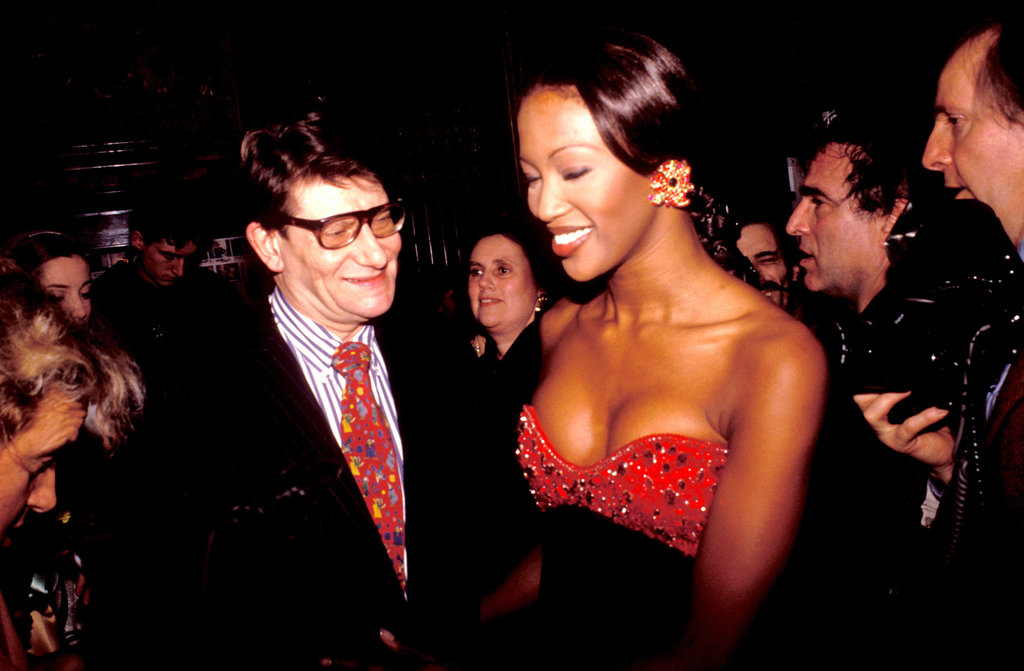 Naomi Campbell and Yves Saint Laurent attended the Miro Exhibition at the Pompidou Center Museum together in January 2000.