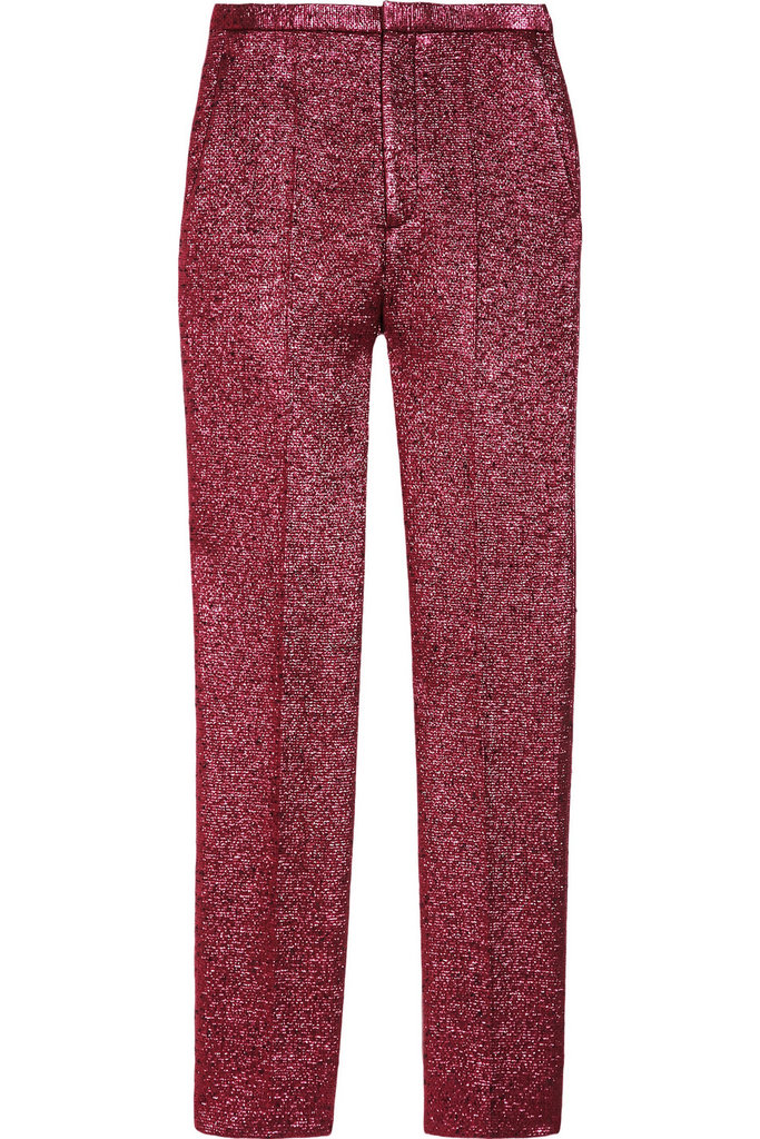 Add a little sparkle and shine to your outfit via these shimmery bouclé trousers. Since they provide enough dynamic on their own, it's not necessary to go overboard on the accessory front. Marc Jacobs Straight Leg Bouclé Lamé Crop Pants ($975)