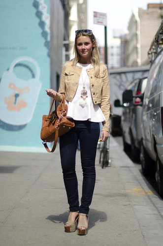 This feminine polish, with a pretty dose of peplum, is just the kind we'd take to the office. Source: Adam Katz Sinding