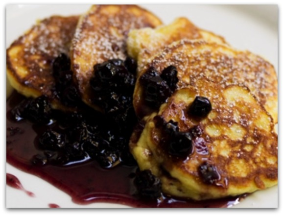 Cecconi's Ricotta Hotcakes w/Blueberry Compote