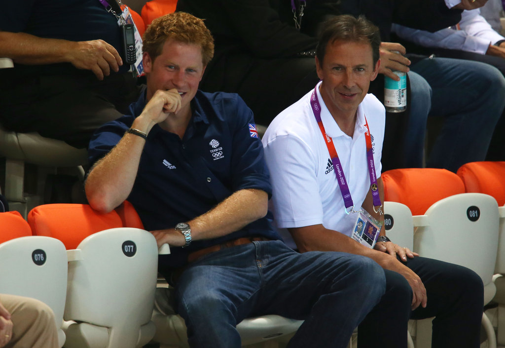 Prince Harry relaxed while taking in the swimming.