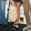 Alexa Chung Carrying a Crochet Bag