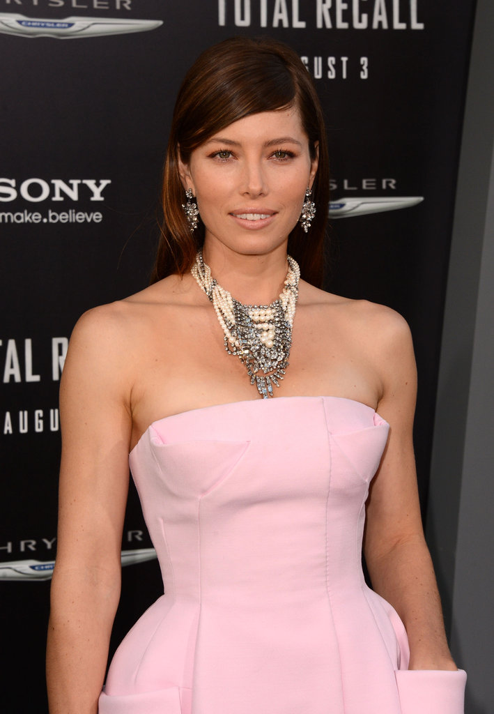 Jessica Biel smiled at the Total Recall premiere in LA.