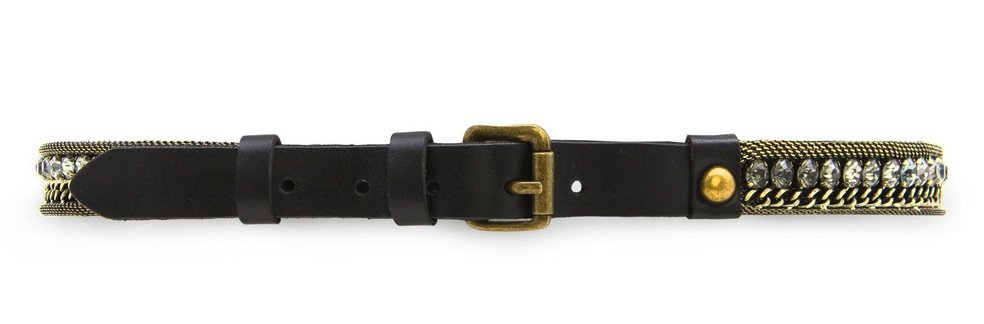 Mixed metals give this traditional black belt a more eclectic vibe so let this cinching piece be its own statement. Wear it on the hips with a pair of skinny ankle-cut jeans and a tucked-in relaxed tee. Mango Crystal Embellished Leather Belt ($70)
