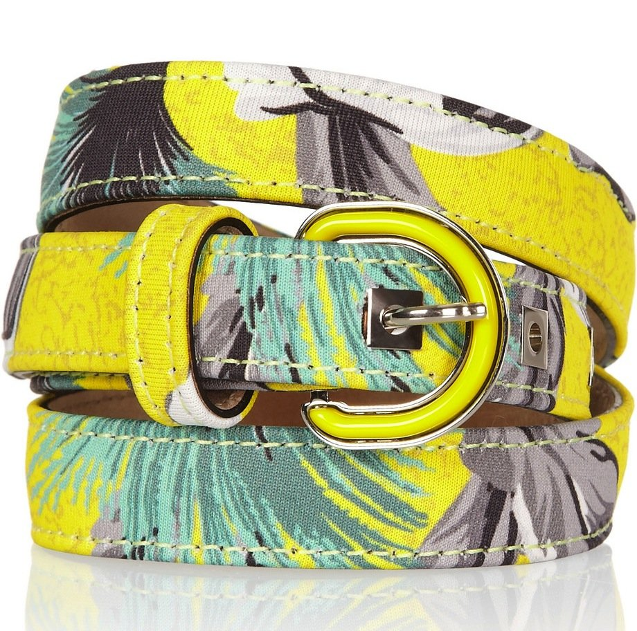 We're positive bold prints aren't going anywhere for Fall, so indulge in a subtle pop of Proenza's brightest neoprene iteration against more feminine silhouettes. That way, the bold pattern won't overwhelm the rest of the outfit. Proenza Schouler Printed Neoprene-Covered Leather Belt ($435)