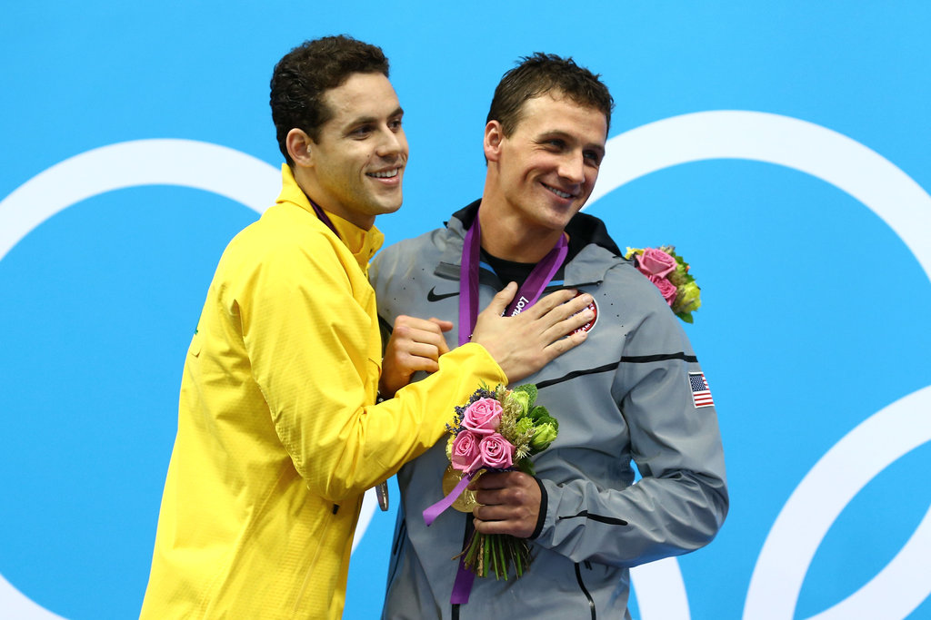 Ryan shared a cute moment with fellow medalist Thiago Pereira on the podium.