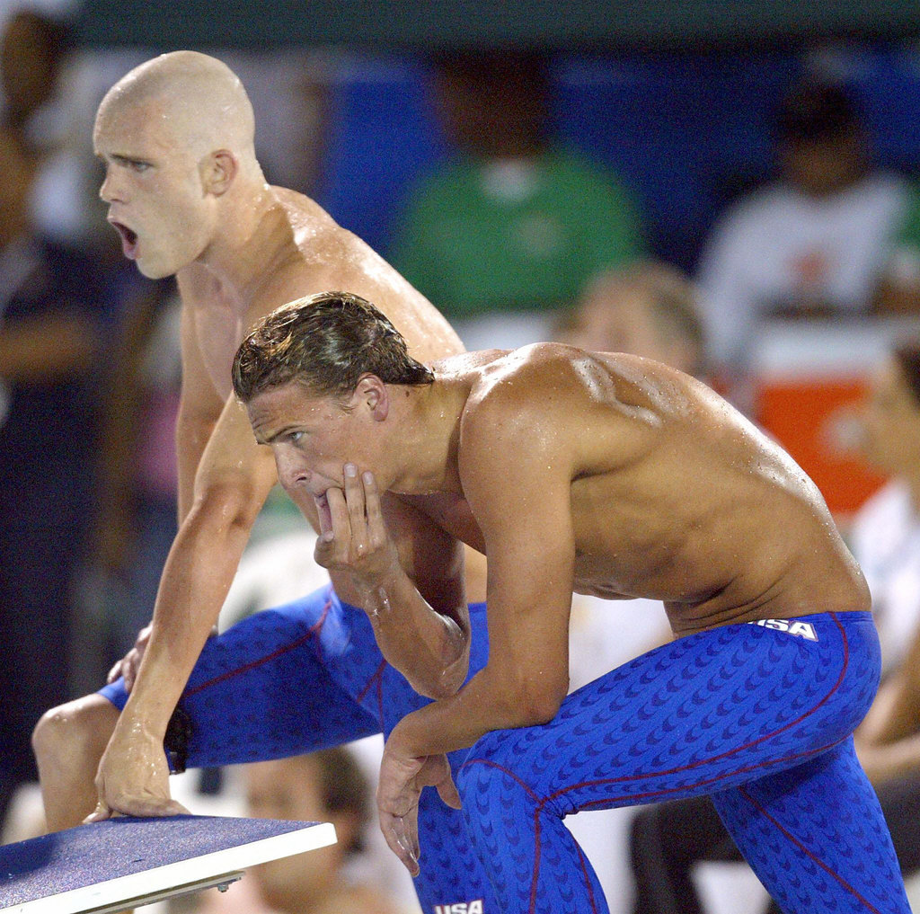 Ryan flaunted his physique at a swim competition in 2003.