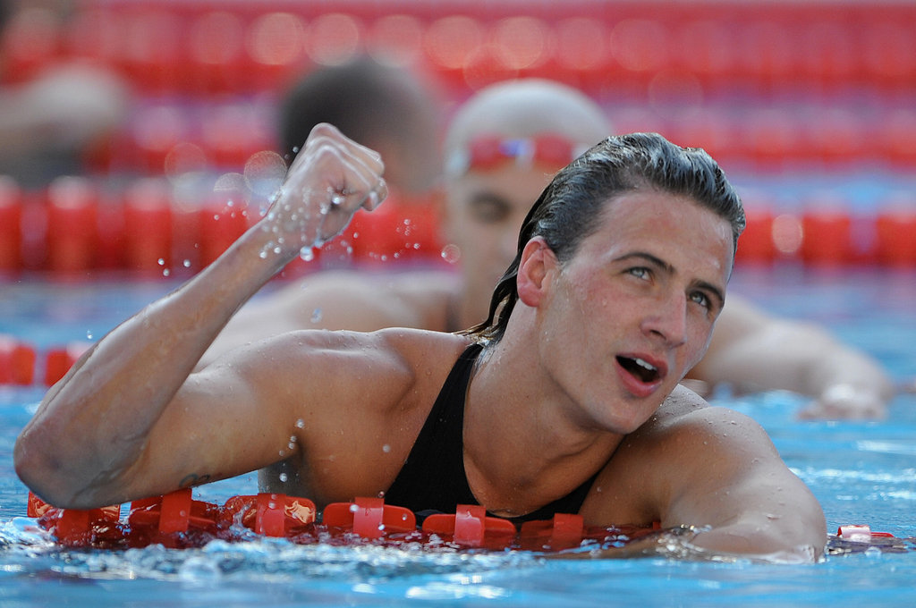 Ryan fist-pumped at the FINA World Swimming Championships in 2009.