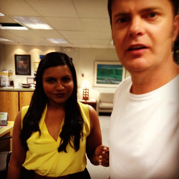 Mindy Kaling reunited with her The Office costar Rainn Wilson on the set of the show. Source: Instagram user mindykaling