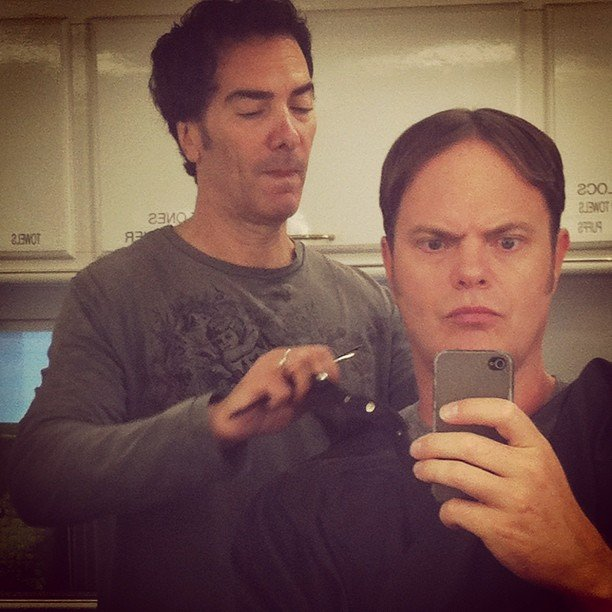 Rainn Wilson got a Dwight makeover to film new episodes of The Office. Source: Instagram user Rainn Wilson