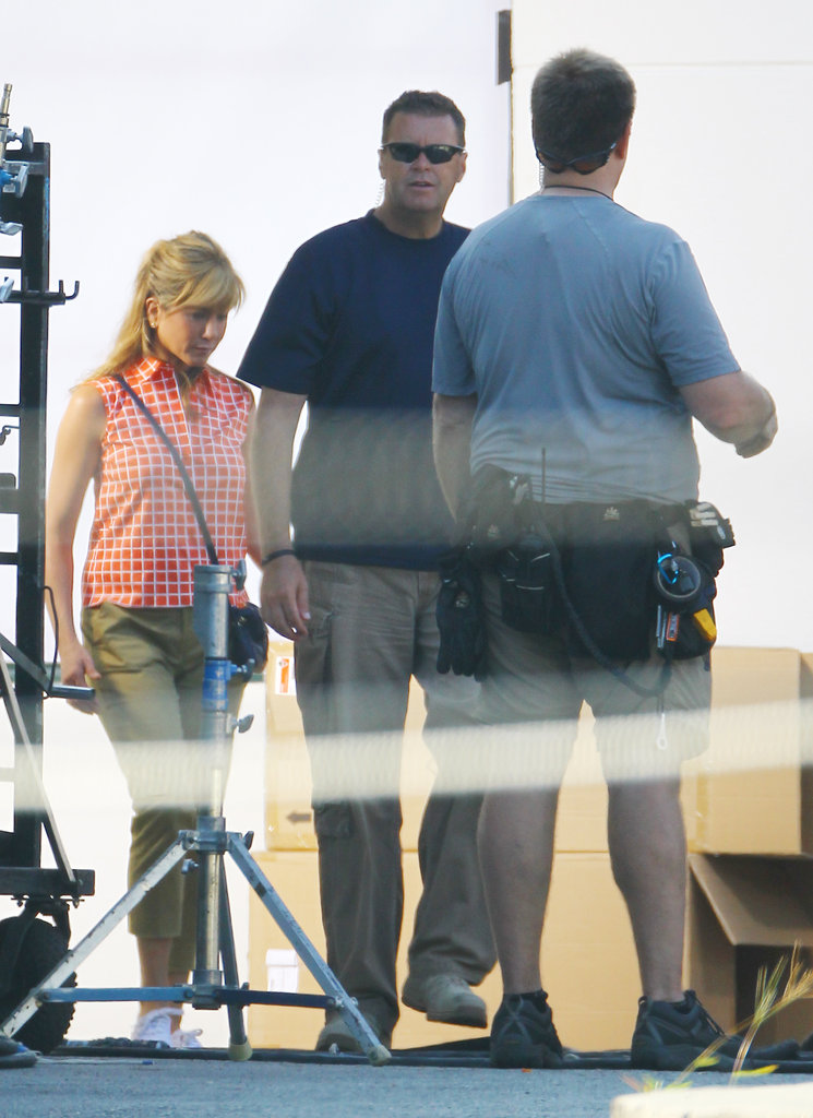 Jennifer Aniston Sports Short Shorts on Set