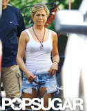 Jennifer Aniston filmed on the set of We're the Millers.