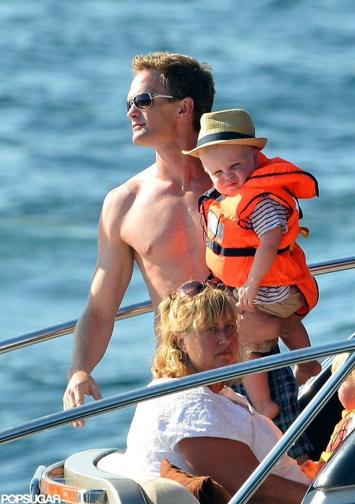 Neil Patrick Harris held tight to baby Gideon Burtka-Harris in Saint-Tropez.