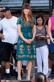 Jessica Biel continued her style tour for Total Recall in a feminine fit-and-flare dress for an appearance on Good Morning America.