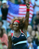 Hot off the heels of a Wimbledon win, Serena Williams looked poised for gold. Appearing triumphant after her win over Victoria Azarenka in the semis, she faced Maria Sharapova in the finals.