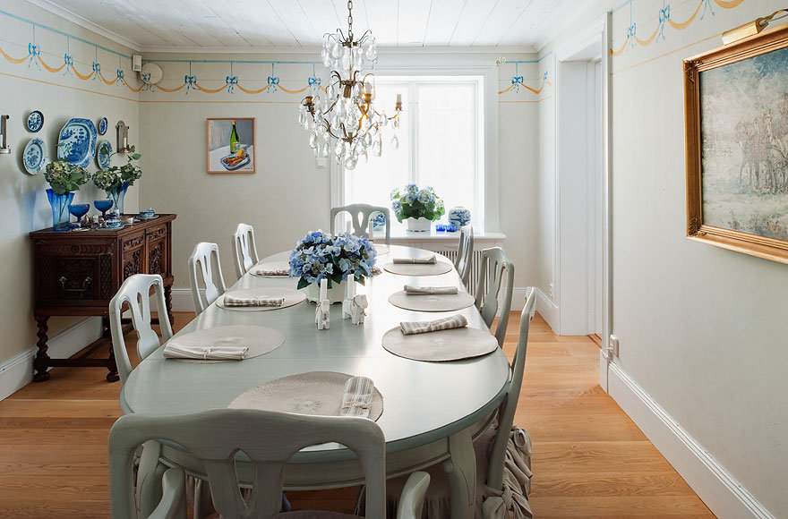 The classically appointed dining room is the perfect place for entertaining.