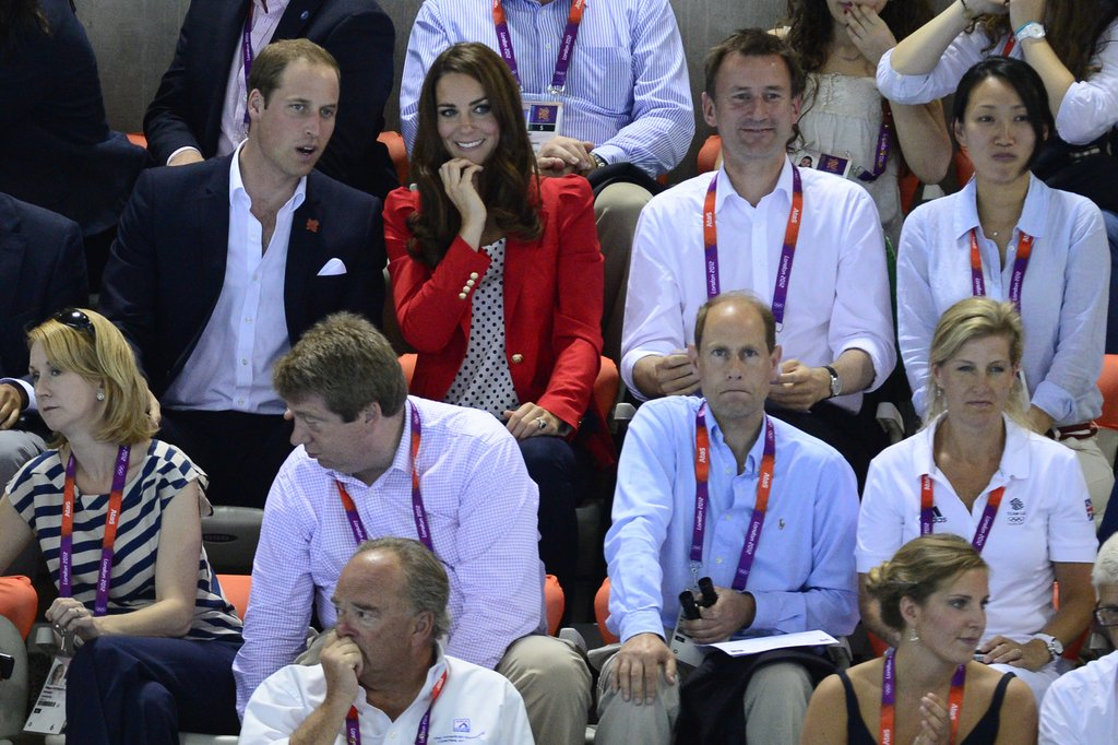The duke and duchess looked on from the stands.