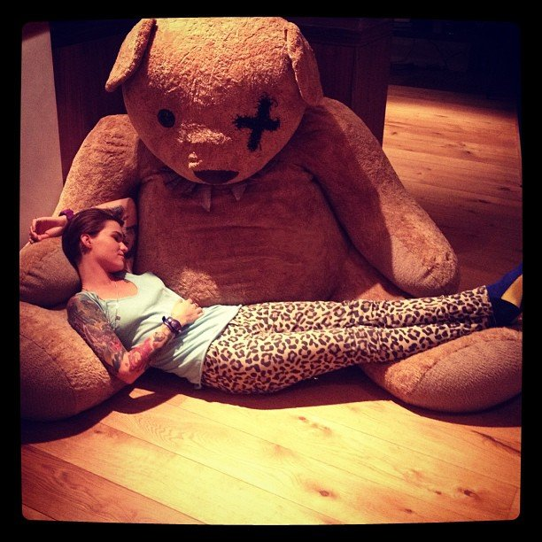 Ruby Rose got some comfort from an oversized teddy bear. Source: Instagram user rubyrose86