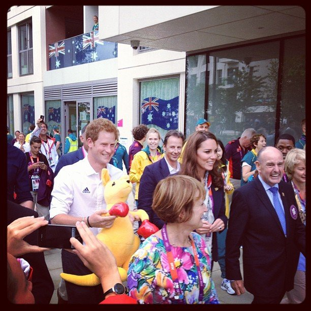 Libby Trickett snapped Prince Harry and Kate Middleton at the Olympic Village. Source: Instagram user libbytricket