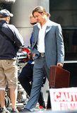 Brad Pitt Wears a Ponytail For a Working Weekend