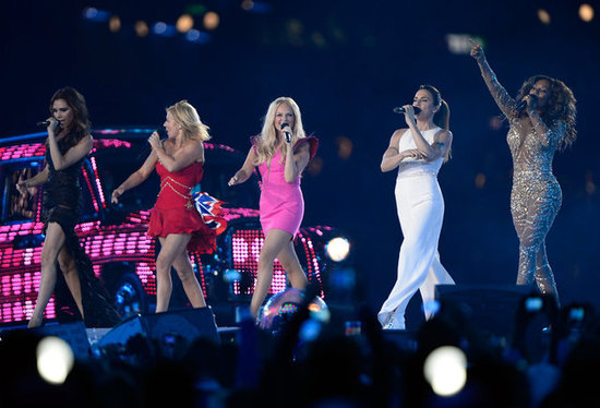 Victoria Beckham, Emma Bunton, Geri Halliwell, Melanie Brown, and Melanie Chisholm reunited for a Spice Girls performance during the August Olympics closing ceremony in London.
