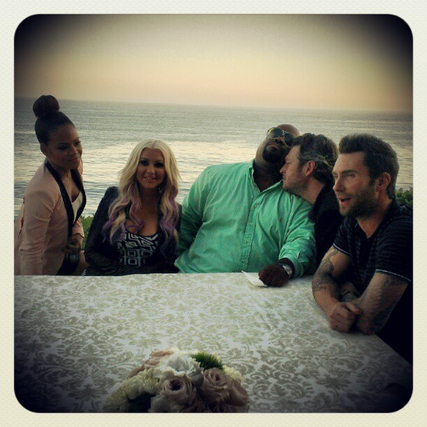 Christina Milian spent a day at the beach with her The Voice costars Christina Aguilera, Cee Lo Green, Blake Shelton, and Adam Levine. Source: Instagram user christinamilian