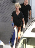 Britney Spears wore a black t-shirt after her photo shoot in LA.