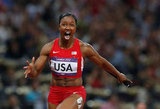 US runner Carmelita Jeter had a look of pure joy after winning gold.