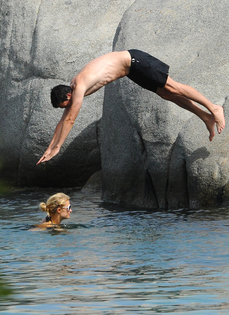 Paris Hilton's new man dove into the water.