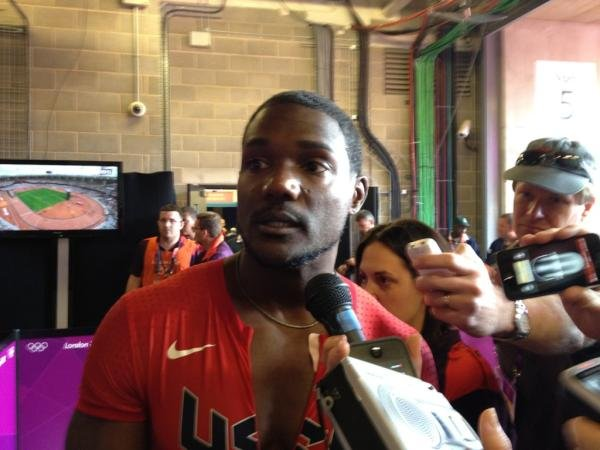 US track runner Justin Gatlin chatted with reporters.  Source: Twitter user MikeGriffith32