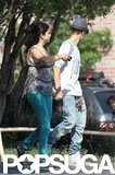Justin Bieber and Selena Gomez held hands while she took a break from filming.