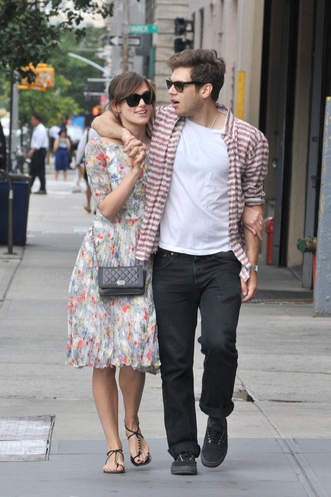 Keira Knightley and fiancé James Righton stayed close during a stroll in NYC.