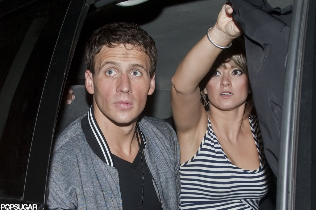 Ryan Lochte left a nightclub in London with friends.