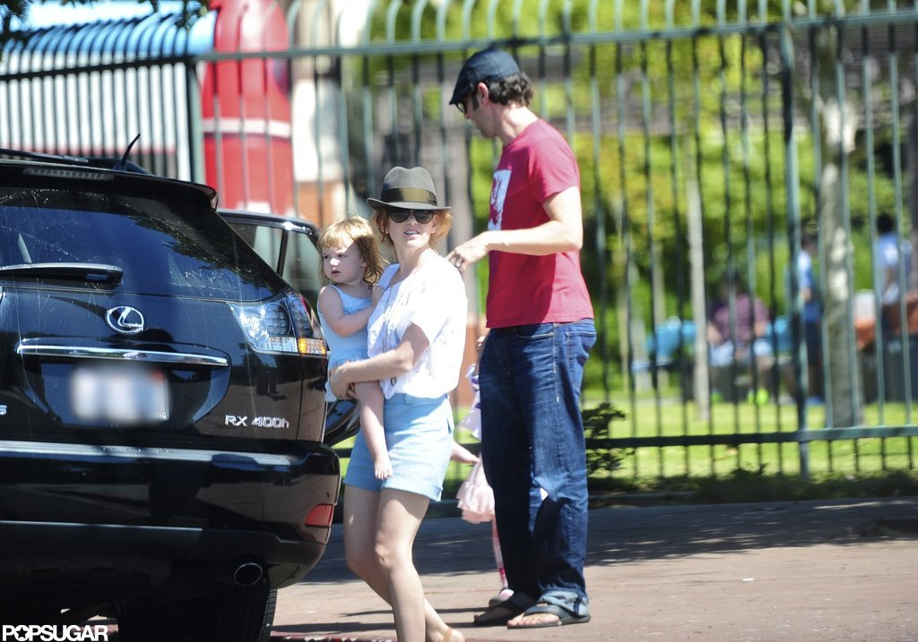 Sacha Baron Cohen and Isla Fisher headed home after a kids' birthday party with Olive Cohen and Elula Cohen.