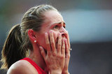 US runner Jennifer Simpson reacted after competing her heat.