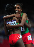 Ethiopian runner Tirunesh Dibaba was congratulated for her win by teammate Beleynesh Oljira.