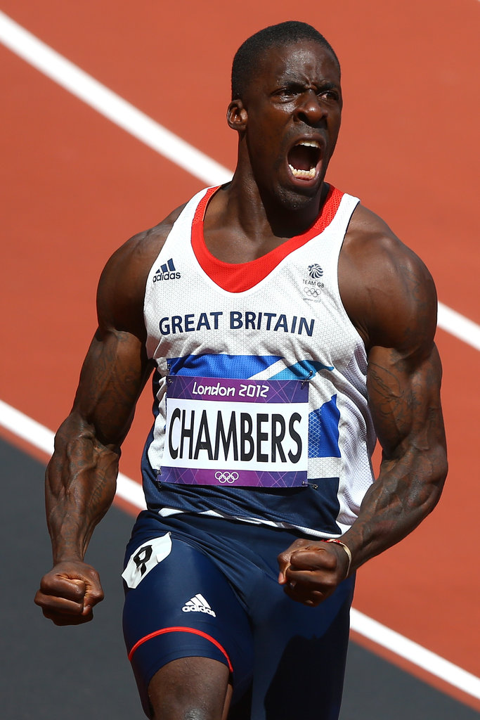 Runner Dwain Chambers of Great Britain got excited after his race.