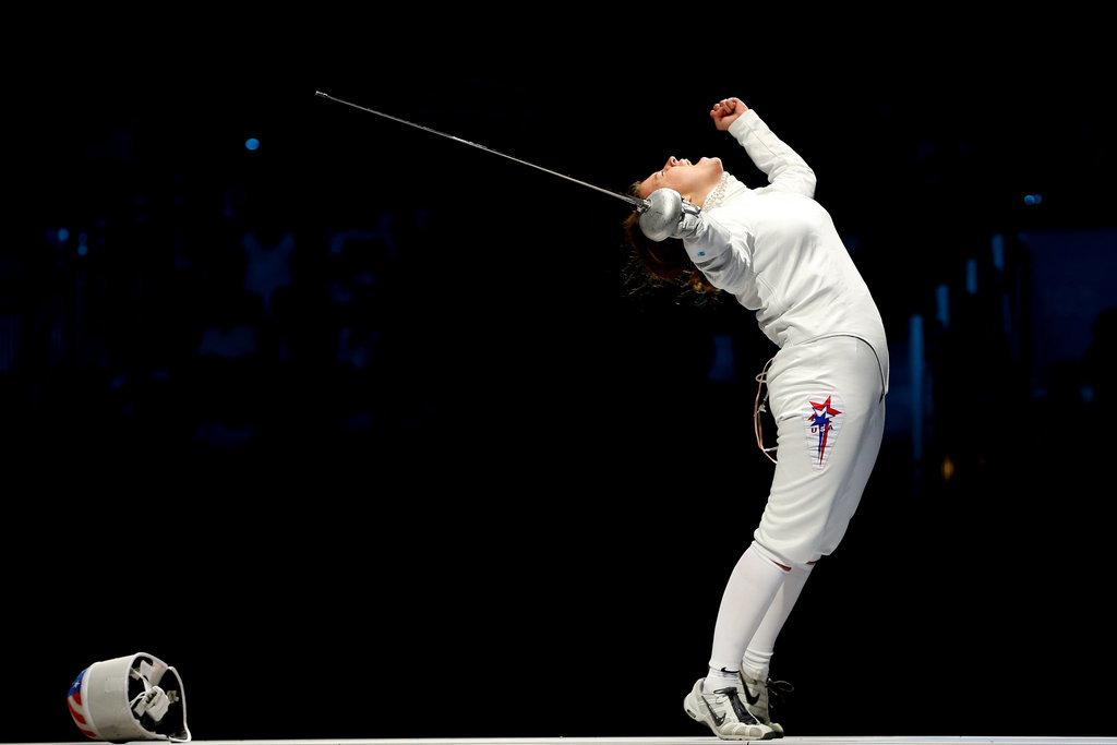 US fencer Courtney Hurley celebrated winning bronze.