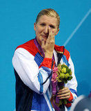 Bronze medalist Rebecca Adlington of Great Britain teared up on the podium for the women's 800m freestyle.