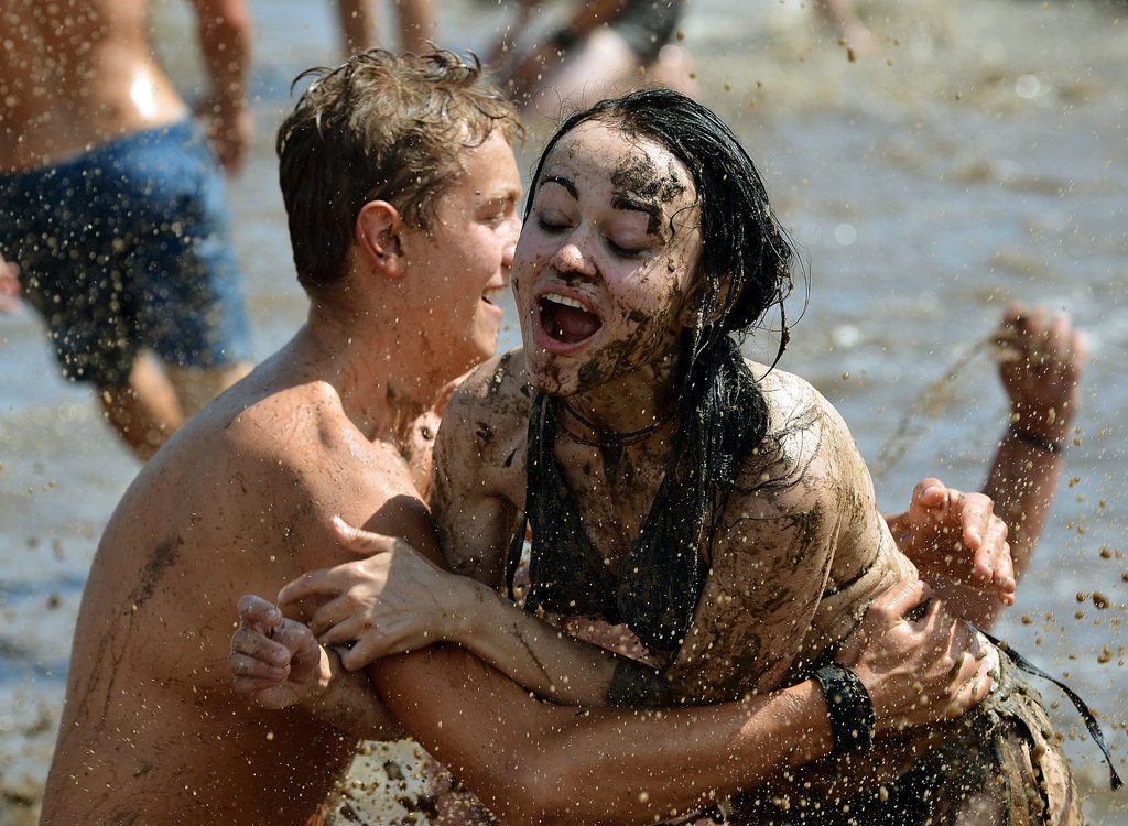 A twosome got down and dirty at Woodstock Festival Poland in Kostrzyn nad Odra.