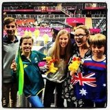 Charlotte Dawson watched basketball with some Aussies. Source: Instagram user mscharlotted