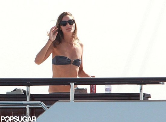 Olivia Palermo showed off her tanned, toned body on a yacht docked in Spain.
