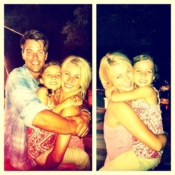 "Julianne Hough posed with Josh Duhamel and Mimi Kirkland (her ""family"") on the set of Safe Haven. Source: Instagram user juleshough"
