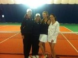 Lisa Raymond hit the court with Giuliana Rancic and Catt Sadler.  Source: Twitter user lisaraymond