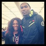 Kevin Durant posed with Serena Williams at the Olympics. Source: Instagram user trey5