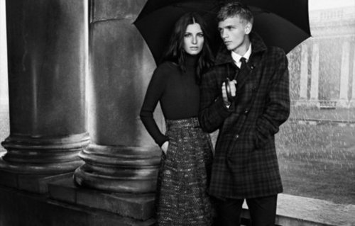 Avoid the rain in a cool mix of tweed, plaid, and cozy cashmere — as shown here in Burberry Black Label's Fall 2012 ads.