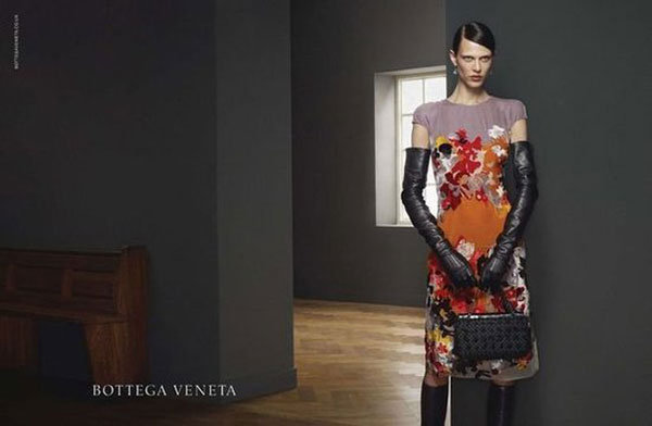 Elegant leather opera gloves and ladylike florals rule Bottega Veneta Fall 2012.