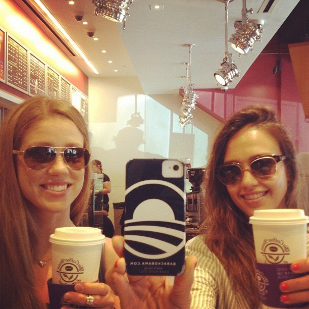 Jessica Alba showed off her Barack Obama phone case while getting coffee with a friend. Source: Instagram user jessicaalba