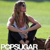 Pregnant Gisele Bundchen soaked up the sun.